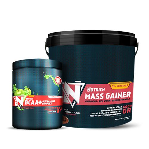 Nutrich Mass Gainer 6000 Gr + Nutrich BCAA&Glutamine Complex 650 Gr