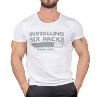 Installing Six Packs T-Shirt Beyaz