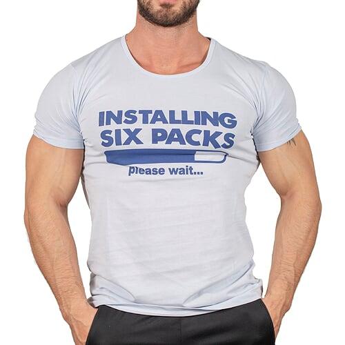 İnstalling Six Packs T-Shirt Buz Mavisi