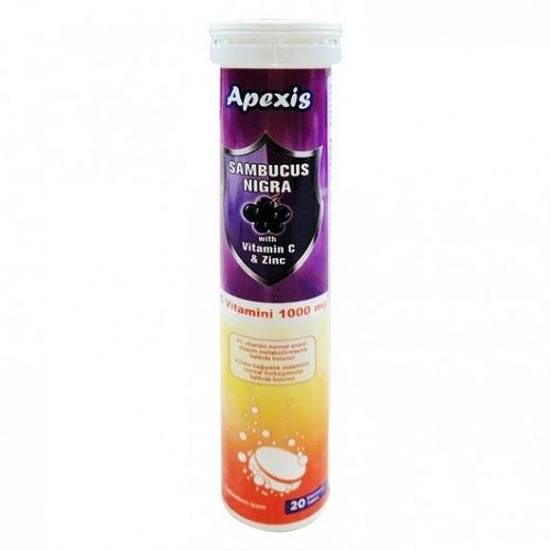 Apexis Sambucus Nigra Vitamin C ve Zinc 1000 mg 20 Efervesan Tablet