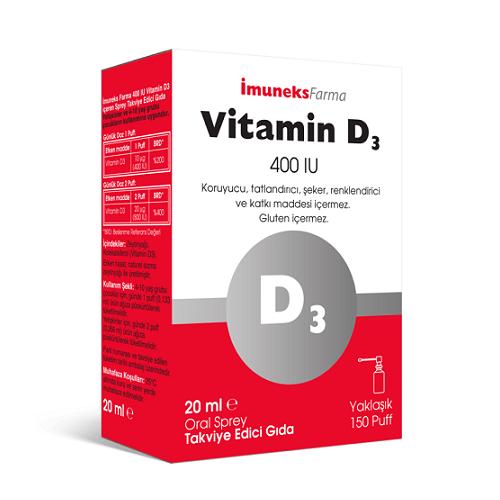 İmuneks Vitamin D3 400 IU Oral Sprey 20 Ml