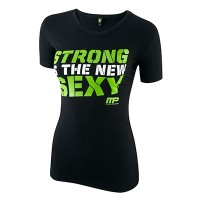 MusclePharm Kadın T Shirt 'Strong is The New Sexy' Siyah ve Yeşil
