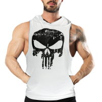 Punisher Kapüşonlu Tank Top Beyaz Atlet