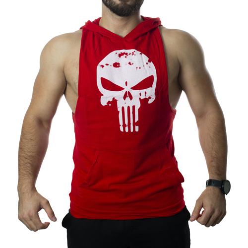 Punisher Kapüşonlu Tank Top Kırmızı Atlet