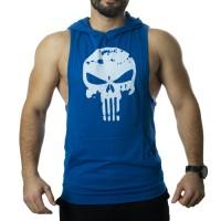 Punisher Kapüşonlu Tank Top Mavi Atlet