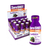12 adet Zero Shot 60 ML 3000Mg L-Carnitine + Plus Sambucus